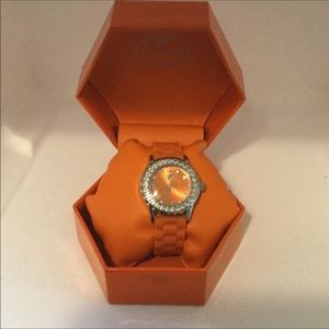 Orange Curations Crystal Bezel Rubber-Coated Watch
